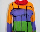 1980's Colorblock Sweater Medium Orange Purple Green Red Black Abstract Turtleneck Wool Blend Hipster Vintage Retro 80's - Retromomo