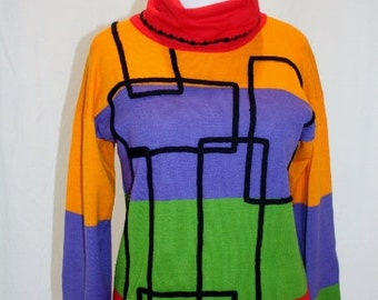 1980's Colorblock Sweater Medium Orange Purple Green Red Black Abstract Turtleneck Wool Blend Hipster Vintage Retro 80's