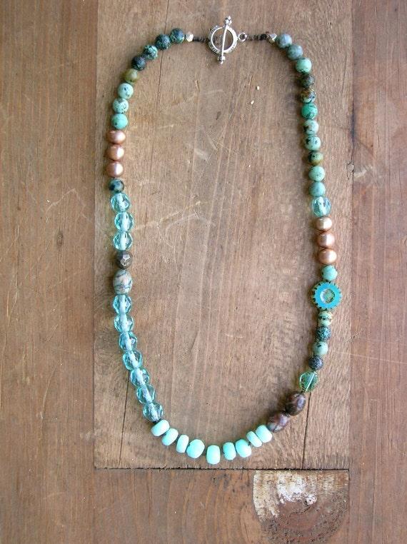 Bohemian Necklace Waterfall Boho Chic Jewelry Blue Opals