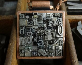 Large Square letterpress type pendant in Bronze