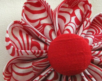 Flower Pin Bright Red and White Curvy Stripes Print Petals and Red Silk Button