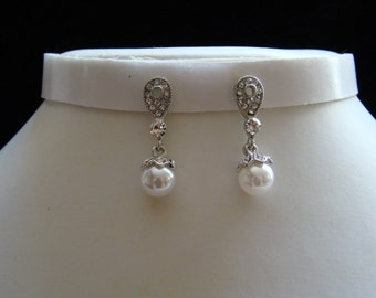 Wedding Dangle Earrings, Pearl/Rhinestone Earrings, Pearl Earrings, Bridal Earrings, Bridesmaids Earrings (E5002)