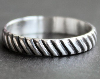 SALE - Striped Sterling Silver Ring  - 3.5mm Wide Band  - READY To SHIP - Size 7