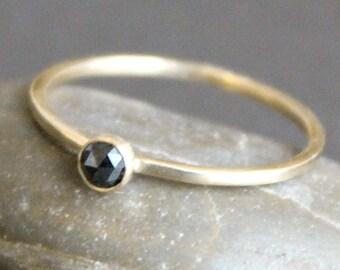 Black Diamond Ring -14K Solid Gold Band - 3mm Rose Cut Diamond - READY TO SHIP (Size 7)