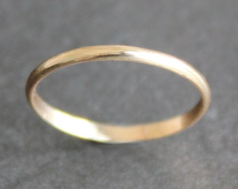 14K Solid Gold Ring - 1.6mm Simple Band - Classic Wedding Band (Size 2 - 10)