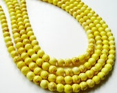 Yellow Howlite Turquoise  Round Beads 6mm 16 Inch Strand, Only Beads Not Finished jewelry