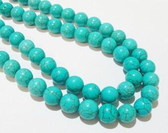 """Turquoise Beads - Turquoise Blue Round Beads - Howlite Gemstone Round Ball - 10mm - 16"""" Strand - Dark Matrix - DIY Jewelry Making"""
