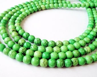 "Green Howlite Beads - Apple Green Gemstone Beads - Smooth Round Stone - Center Drilled - Dark Matrix - 16"" Strand - 8mm - DIY jewelry Making"