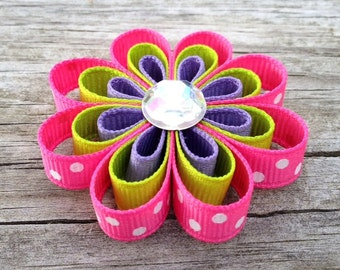 Hot Pink, Lime, and Purple Flower Ribbon Sculpture Hair Clip, Girls Hair Bows, Toddler Hair Clips, Flower Hair Clips, Free Shipping Promo