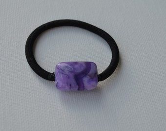 Ocean Jasper dyed Amethyst rectangle bead, ponytail holder
