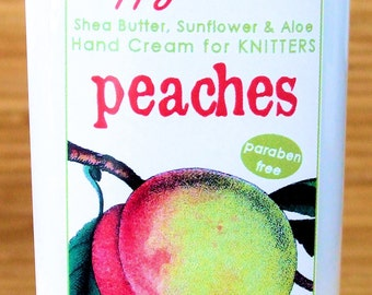 Peach Scented Hand Cream for Knitters - 8oz Jumbo HAPPY HANDS Shea Butter Hand Lotion