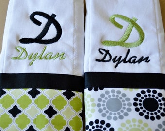 set of 2 personalized monogrammed burp cloths in lime green and black