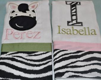 set of 2 custom personalized monogrammed burp cloths in pink green zebra