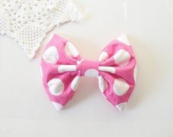 Pink and White Hair Bow, For Women Teens Girls SALE