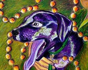 Colorful Personalized Pet Portrait Custom Dog Art from your photo Dog Portrait example- Mardi Gras Dog Dog Mom Gift Memorial Pet Art