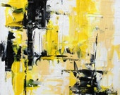 Abstract Painting Urban Art Original - Modern Original. Urban Contemporary Design.  Black, White, Yellow Textured Impasto Oil Painting