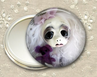 gothic doll pocket mirror,  original art  hand mirror, mirror for purse, gift for her,  bridesmaid gift, stocking stuffer MIR-AD22