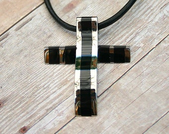 Leather Surfer Necklace With Modern Black Titanium Stainless Steel Cross Distressed Cord