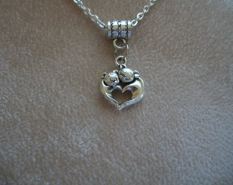 Pigs Heart, Silver, Necklace, by Brendas Beading on Etsy