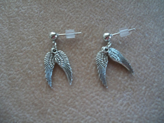 Baby Angel Wings, Stud earrings, by Brenda's Beading on Etsy