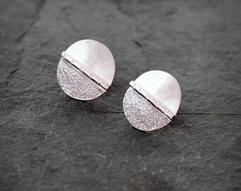 Round Sterling Silver Texture and Polish Post Earrings