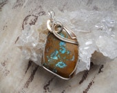 Turquoise Pendant, Pendants  Wire Wrapped Pendants,  Boulder Turquoise, Turquoise  Free Shipping  Brown Stone  Statement Pendant Power Stone