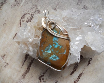 Turquoise Pendant, Gifts Under 50  Wire Wrapped Pendants,  Boulder Turquoise, Turquoise  Free Shipping  Stone Statement Pendant Power Stone