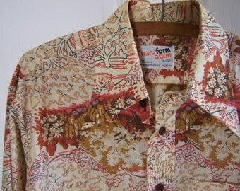 Mens Long Sleeve Vintage Shirt In Tree And Flower Pattern