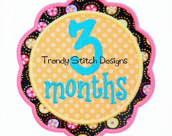 Girl Monthly Birthday Set 1 2 3 4 5 6 7 8 9 10 11 12 0 FLOWER Applique Design Machine Embroidery INSTANT DOWNLOAD
