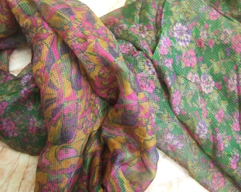 Beautiful ---Unique---  Floral Scarf,  Recycled Sari Pure Silk Scarf (42x68)