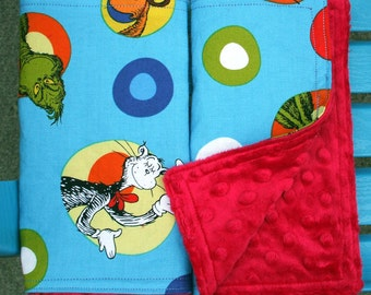 Burp Towels - Dr. Seuss Cotton Fabric and Red Dimple Minky (set of 2)
