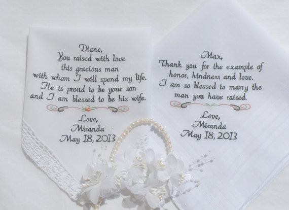 Father In Law Wedding Gifts: Embroidered Wedding HHankerchiefs PARENTS Of By