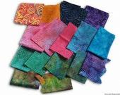Fabric Scrap Pack Batiks, 16 Pieces, 100% Cotton Fabric
