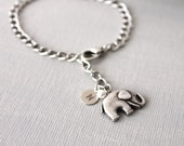 Elephant Bracelet. antique silver elephant with initial monogram, personalized tag