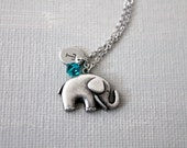 Elephant Necklace.silver elephant necklace. personalized initial birthstones elephant necklace