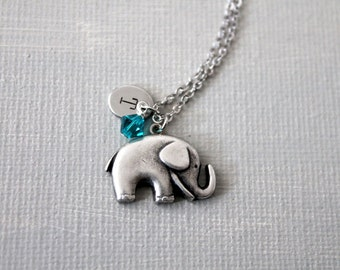 Personalized Initial Birthstones Elephant Necklace. baby elephant necklace. everydy simple style necklace
