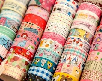 wholesale - 50pcs Kawaii Diy Deco Tapes - small (hello kitty, bear, paric tower, england, polka dots, check, pink lace)