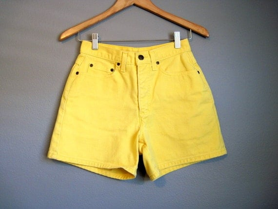 Yellow High Waisted Denim Shorts Vintage Jean Small