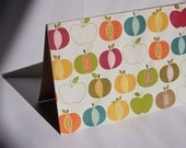 Apple Card Set - Summer Fall Stationery, Kraft Thank You Notes, Olive Leaves Apple Note Cards, Back to School Teacher Note Cards