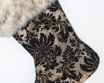 Taffeta  Christmas Stocking Tan and Black  with Faux Fur Cuff - lined