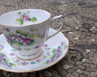 Treasury Item - Royal Albert Bone China '' Sweet Violet'' Cup and Saucer - Lovely