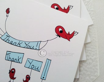Little Red Birds Thank You Thank  You Card