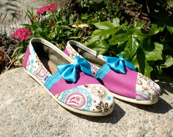KOOAK Kustoms Pink and Blue Paisley Toms Flats
