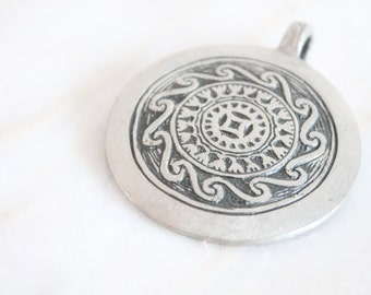 60s jewelry - pewter pendant - mid century modernist jewelry - Tennesmed - 60s boho pewter medallion - festival jewelry
