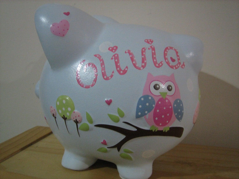 Personalized Large Owl Piggy Bank Dena Happi Tree Newborns