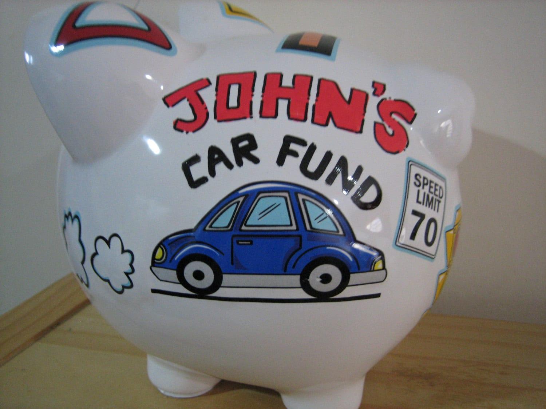 personalized large piggy bank car fund road traffic newborns