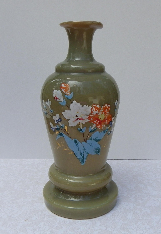 Bristol Glass Vase 1800 S Victorian Hand Painted