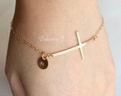 Gold Cross Bracelet / Personalized Bracelet / Initial Tag And Cross / 14K Gold Filled Cross Jewelry / Custom Bracelet Monogram Disc / Dainty