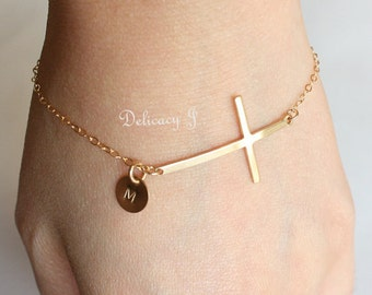Gold Cross Bracelet / Personalized Bracelet / Initial Tag And Cross / 14K Gold Filled Cross Jewelry / Custom Bracelet Monogram Disc / Dainty