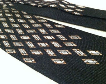 Bronze and Silver Diamonds on Black Vintage Skinny Silk Nectie